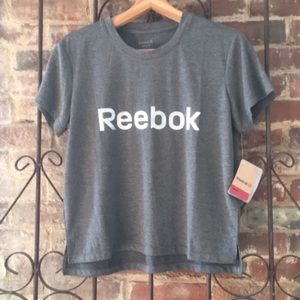 Reebok logo Glow tee small Grey with silver NWT